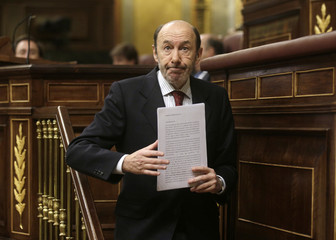 Spain's Socialist Party leader Alfredo Rubalcaba attends a parliamentary session about the last EU leaders summit in Brussels, at the Spanish parliament in Madrid