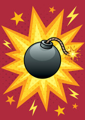 Bomb / Cartoon illustration of bomb with blasting background.