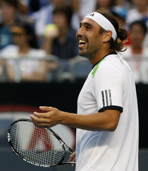 Baghdatis of Cyprus reacts during his match against Melzer of Austria at the Australian Open tennis tournament in Melbourne
