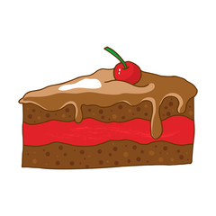 Hand drawn cherry chocolate cake isolated on white background.