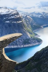 Tuinposter Scandinavië Trolltunga landform in Norway