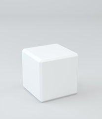 White cube in light studio. 3d rendering background
