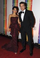 Alec Baldwin and his wife Hilaria Thomas attend the 35th Annual Kennedy Center Honors gala in Washington