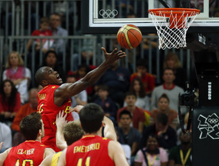 Spain's Serge Ibaka goes for a layup against Australia during the men's preliminary round Group B basketball match at the Basketball Arena during the London 2012 Olympic Games
