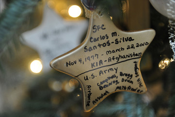 Ornaments honoring fallen members of the U.S. military hang on a tree dedicated to Gold Star families during a media tour of the holiday decorations at the White House in Washington