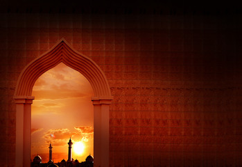 Eid-Ul-Adha festival celebration. Ramadan Kareem background with mosque arch.