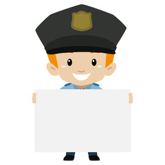 Vector Illustration of Policeman Kid Boy holding a Blank Board