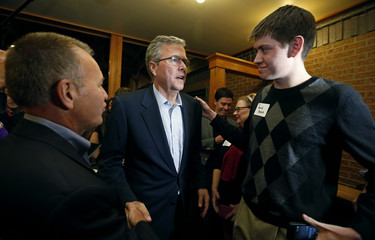 Former Governor of Florida Bush greets supporters at a fundraiser for U.S. Rep. Young in Urbandale, Iowa