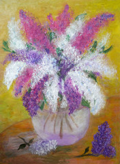 Pictorial greeting card with bouquet of vivid lilas in glass vase
