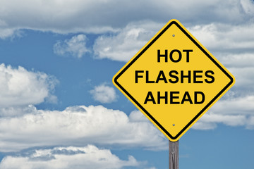 Caution Blue Sky Background - Hot Flashes Ahead
