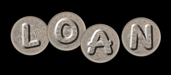 LOAN – Coins on black background