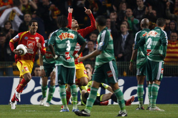 Lens' Yahia celebrates his goal during their French Cup soccer match against Saint Etienne at Felix Bollaert stadium in Lens