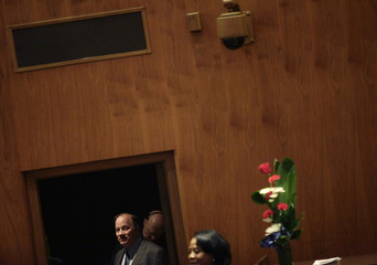 Mayor Mike Duggan waits to be introduced before giving his first State of the City address  in Detroit