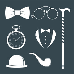 Vintage style design hipster gentleman vector illustration white silhouette design mustache element.