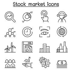 Stock market, Stock money, Stock exchange icon set in thin line style
