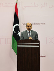 Mustafa Abdel Jalil, chairman of the Libyan National Transitional Council, attends a news conference in Benghazi.