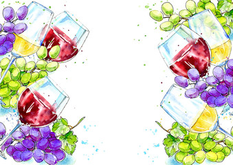Frame of a bottle of red and white wine and grapes.Picture of a alcoholic drink.Beverage.Watercolor hand drawn illustration.