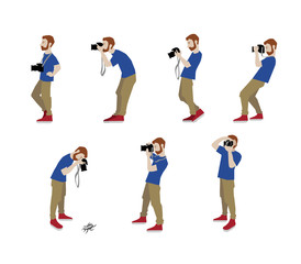 Vector Illustration of photographer taking a photo using camera. Flat illustration of young male character standing full length and shooting. Character set.