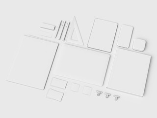 Branding Mock up & White Stationery. Office supplies, Gadgets. 3D illustration