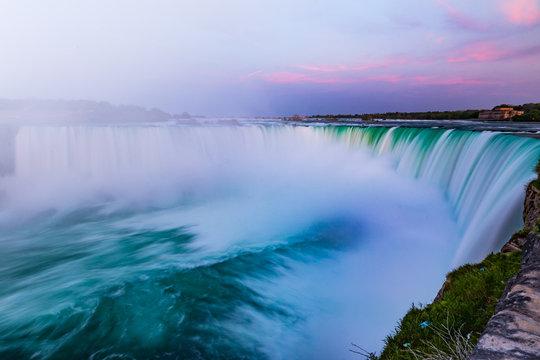 Majestic Waterfall Niagara Fall Under the Twilight Sky's Purple Glow