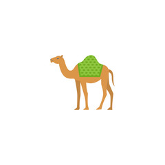 Flat Camel Element. Vector Illustration Of Flat Dromedary Isolated On Clean Background. Can Be Used As Camel, Dromedary And Hump Symbols.