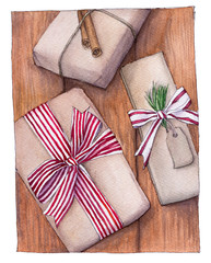 Watercolor illustration of Christmas gifts on wooden background. Gifts wrapped in kraft paper decorated with ribbon, fir branch, cinnamon.