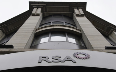 File photo of a sign of the RSA insurance company outside its office in London