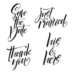 Vector set of handwritten lettering positive quote about wedding. brush modern calligraphy illustration