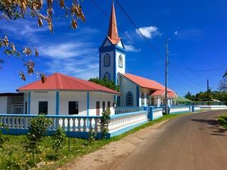 Typical church at Tahaa, Tahiti, French Polynesia