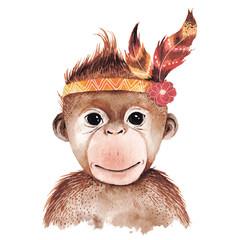 Watercolor monkey portrait