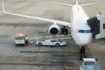 Loading cargo on the plane in airport. Cargo airplane loading or unloading in airport.