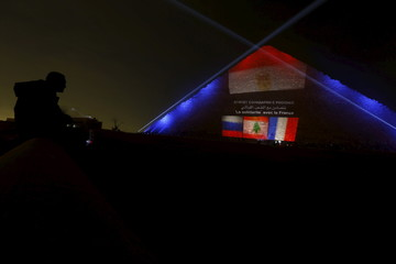 A man looks on as the Russian, Lebanese and French flags are projected on one of the Giza pyramids, in tribute to victims from the respective countries, on the outskirts of Cairo