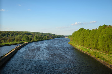 Moscow River channel in Iksha, Moscow Region, Russia