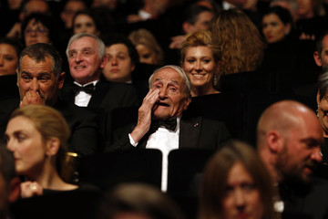 """Glaciologist Claude Lorius, cast member of the documentary film """"La glace et le ciel"""", cries during the closing ceremony of the 68th Cannes Film Festival in Cannes"""