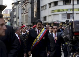 Venezuela's President Nicolas Maduro arrives at the national assembly in Caracas