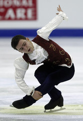 Demirboga of Turkey performs during the men's free skating preliminary round at the ISU World Figure Skating Championships in Nice