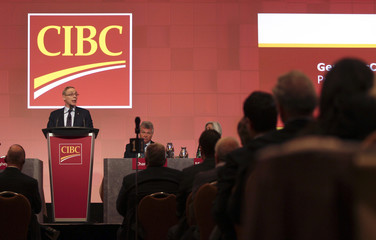 Gerry McCaughey, president and chief executive officer of CIBC, speaks during their annual general meeting in Montreal