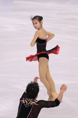 Peng Cheng and Zhang Hao of China perform the pairs short program at the Bompard Trophy ISU Grand P