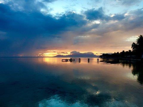Beautiful view on Moorea during sunset, Tahiti, French Polynesia
