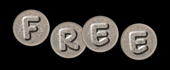 FREE – Coins on black background