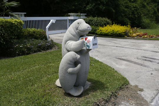 Models of an adult and baby manatee hold a mailbox along the highway US-1 in the Lower Keys near Key Largo in Florida