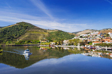 Landscape and vineyards in Douro valley with Pinhao village, Portugal