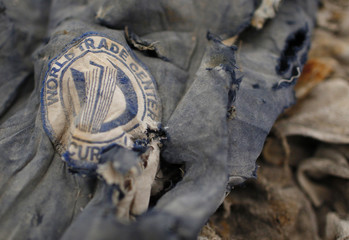 Clothes recovered from World Trade Center site sit inside Hangar 17 at New York's John F Kennedy International Airport