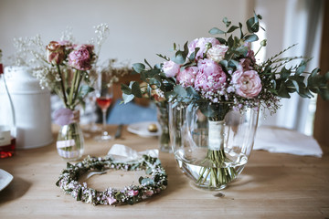 floral wreath on table