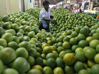 A vendor arranges sweet limes at his shop at a wholesale fruit market in the southern Indian city of Chennai