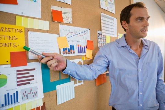 Male executive explaining the graph on bulletin board