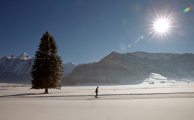 A cross-country skier is seen in the snow-covered landscape near Unteriberg