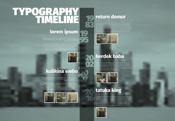 Vertical Timeline Infographic with City Background