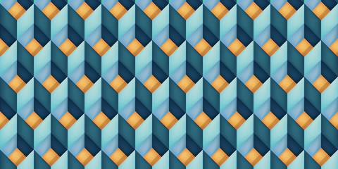 Volume realistic vector texture, diamonds, geometric pattern, turquoise cubes with orange bottom