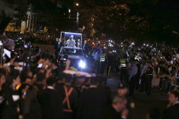 Pope Francis arrives in a popemobile to Asuncion's Metropolitan Cathedral, in downtown Asuncion, Paraguay